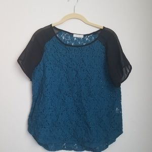 Lush lace top dark teal with black cap sleeves